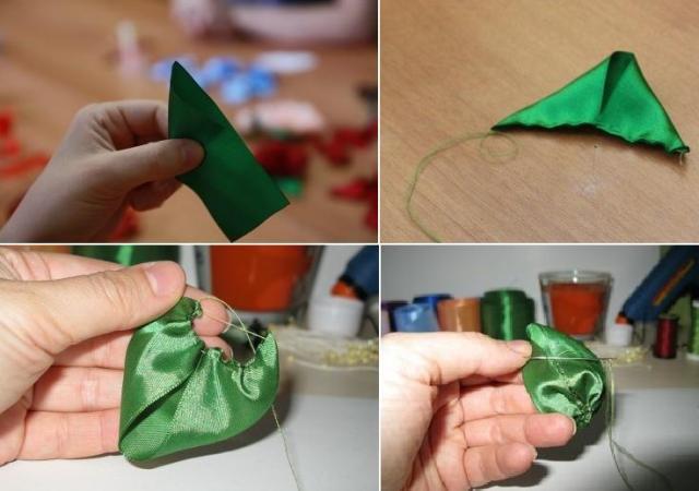 Как сделать листочки из лент своими руками 62